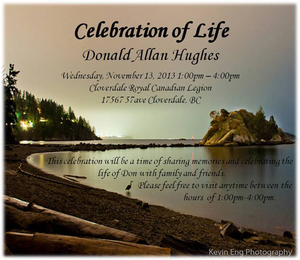 Don Hughes Celebration of Life Invitation